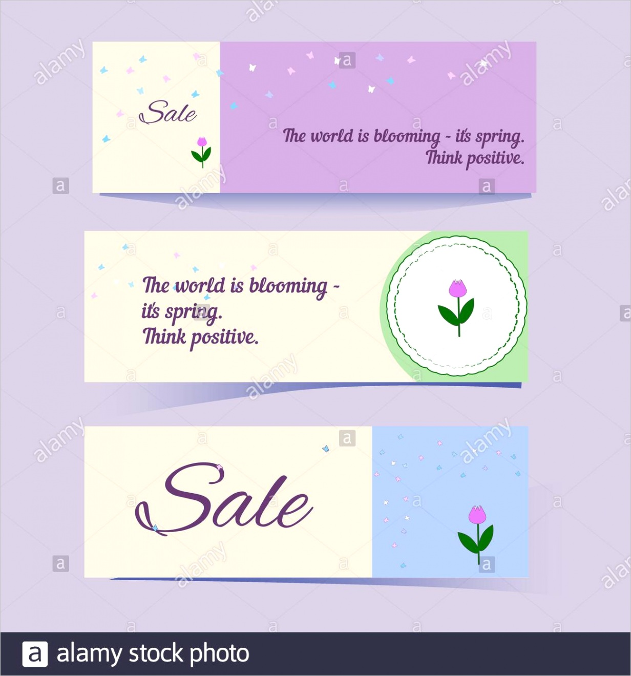 set of flyers or banners in gentle colors with butterflies and tulips label with place for text message cute vector templates for cover or bookmark image ml