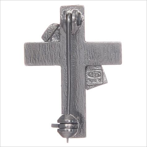 deacon cross lapel pin in 925 silver and red enamel