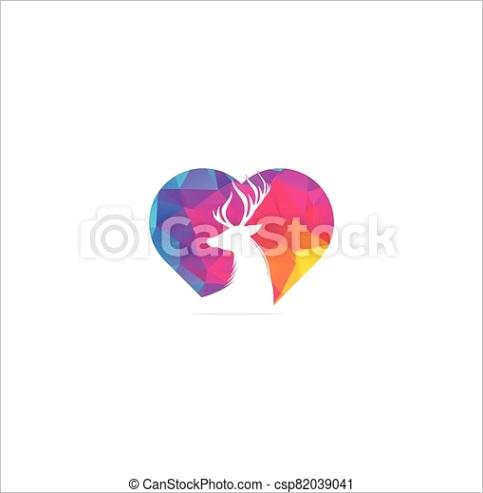 deer head heart shape concept logo ml