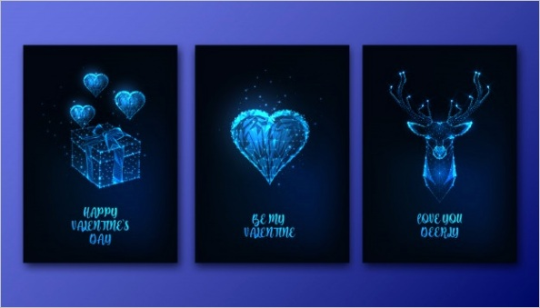 valentines day greeting cards set with futuristic glowing low polygonal heart t box deer head m