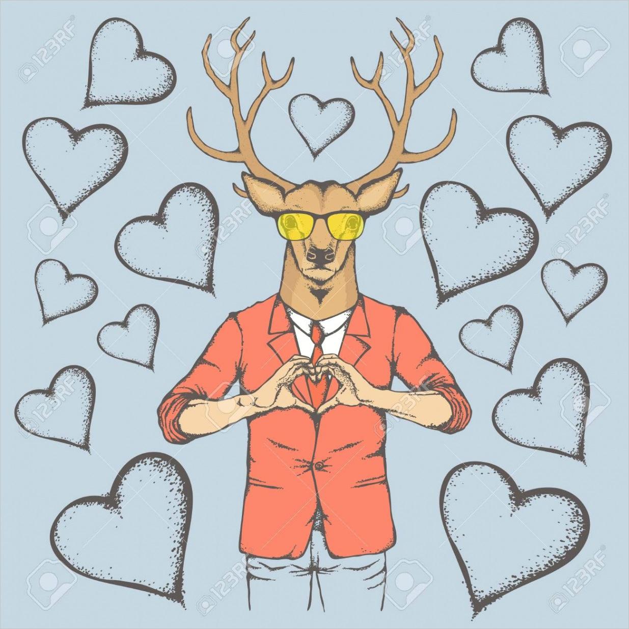 photo deer valentine day vector concept illustration of deer head on human body rein deer showing heart sh