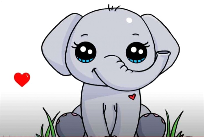 how to draw an elephant cute and easy easy animals to draw