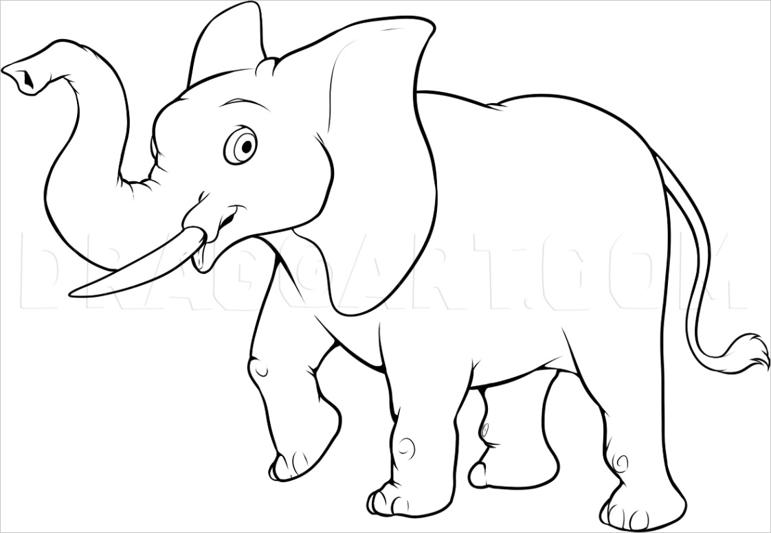 how to draw an easy elephant 6073