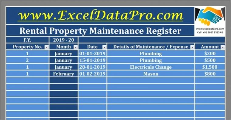 rental property maintenance register