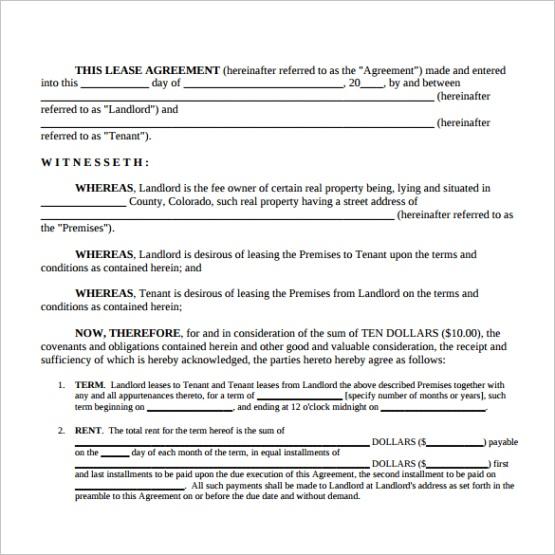 sample simple lease agreementml