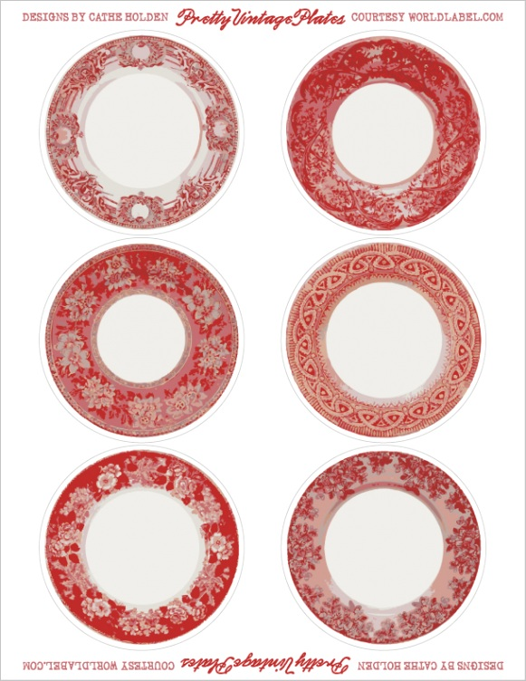 free printable vintage label dishes in 4 colors