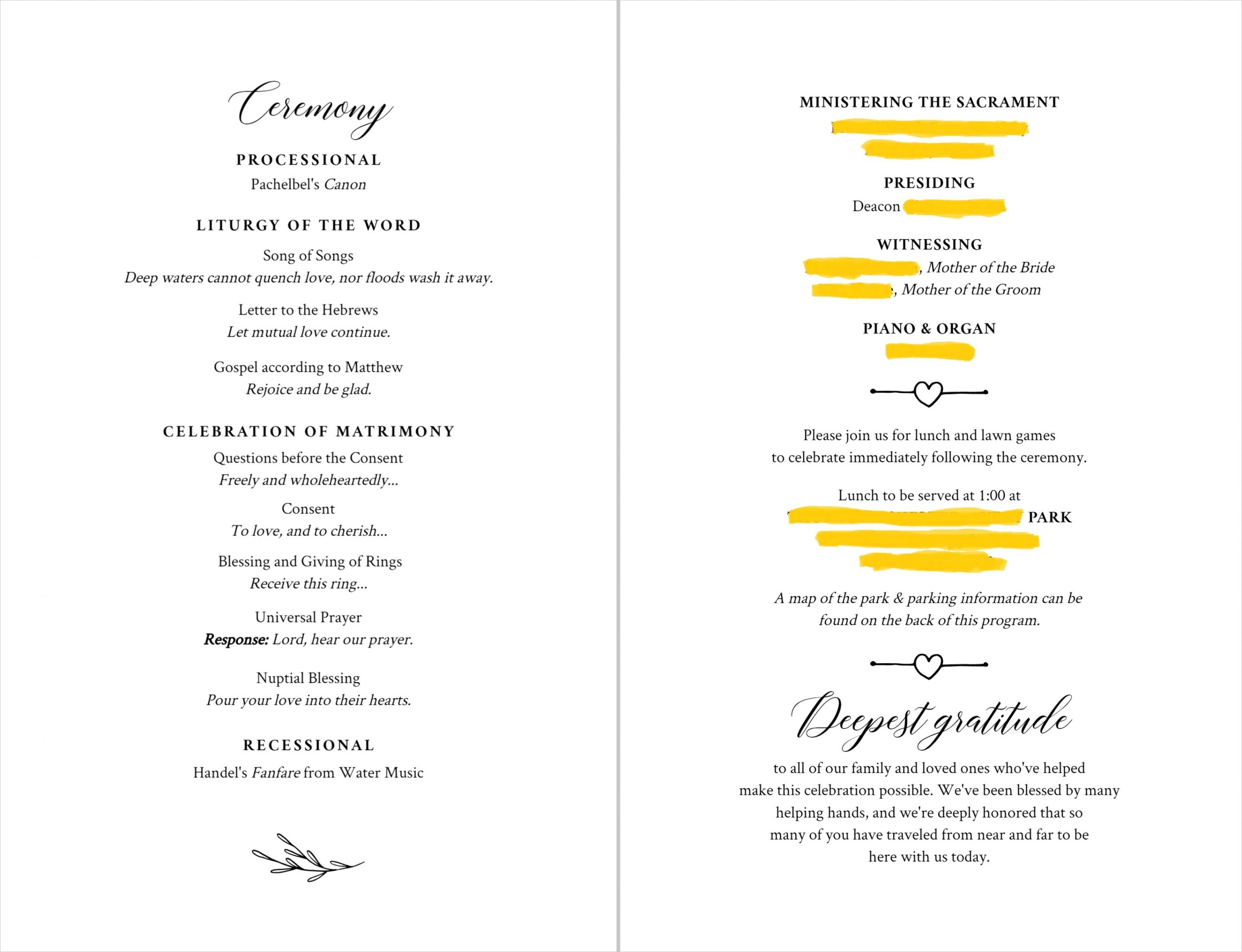 our catholic wedding programs