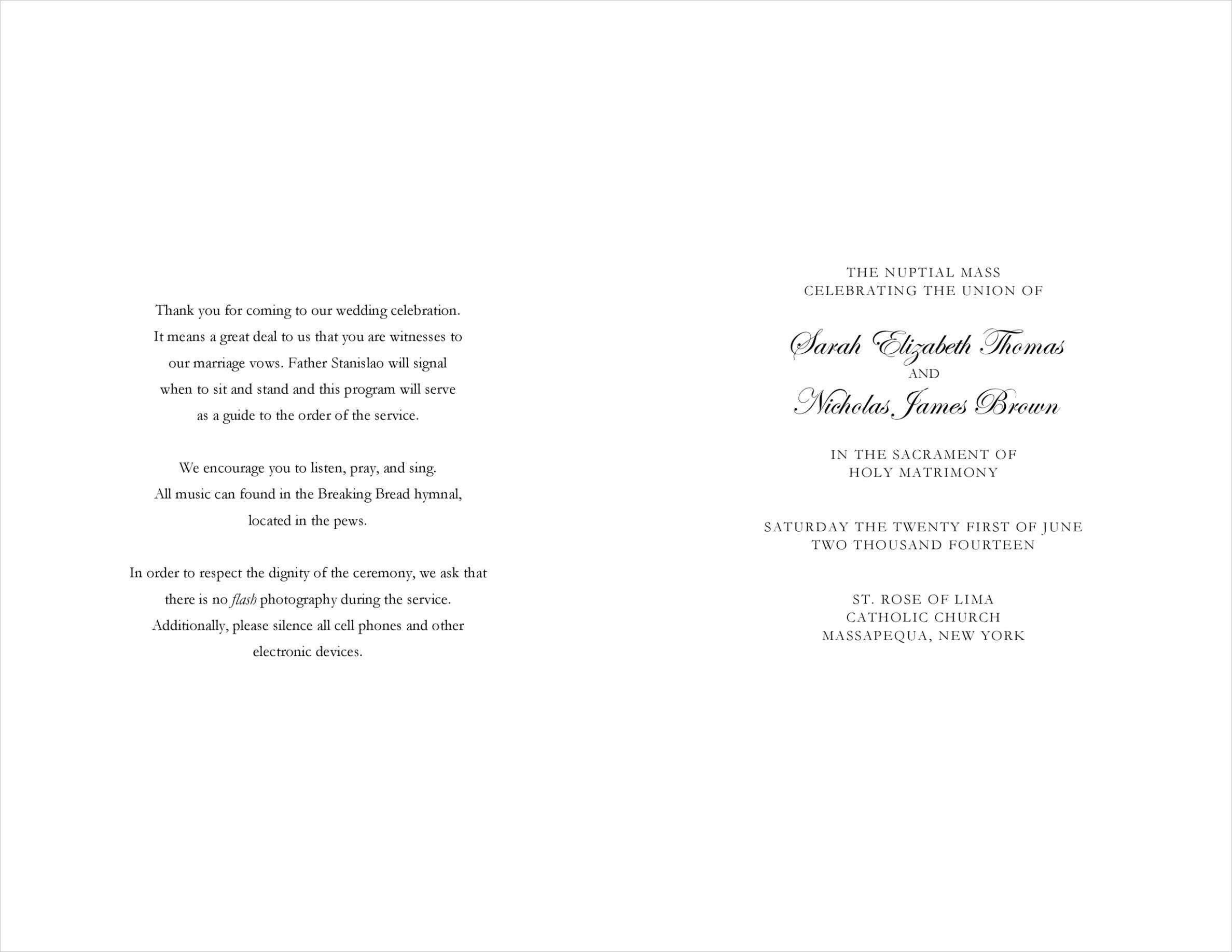 wedding program examples