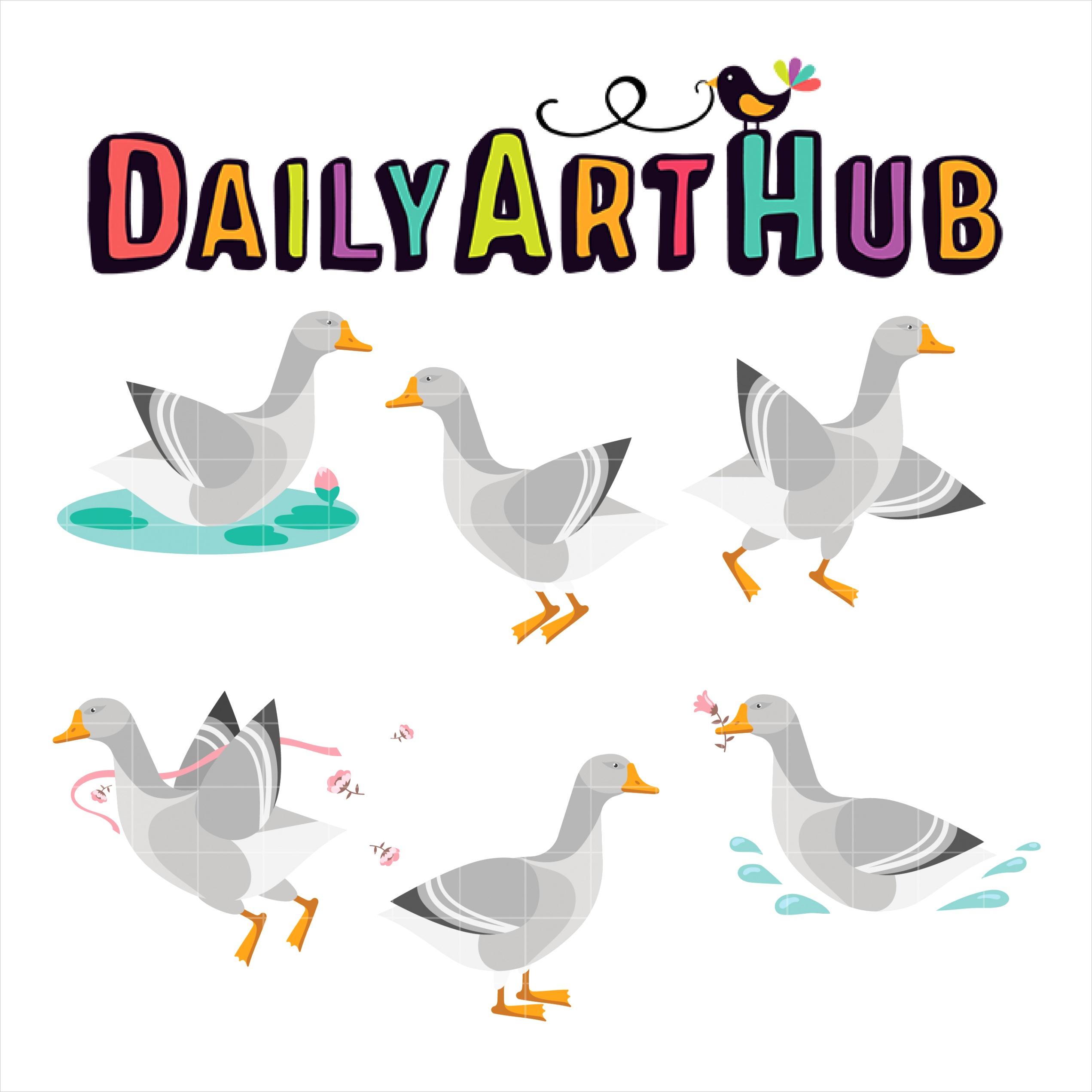 goose clip art set