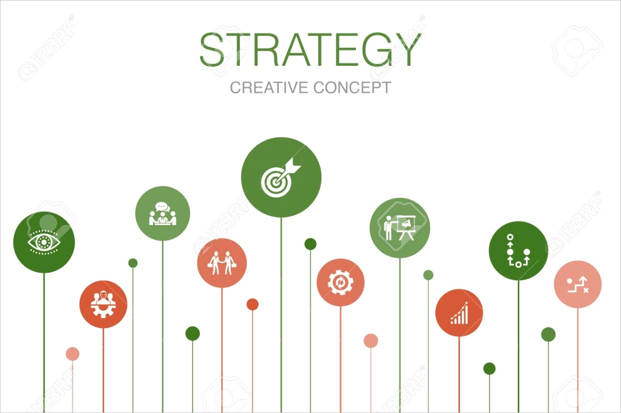 photo stock vector strategy infographic 10 steps template goal growth process teamwork icons