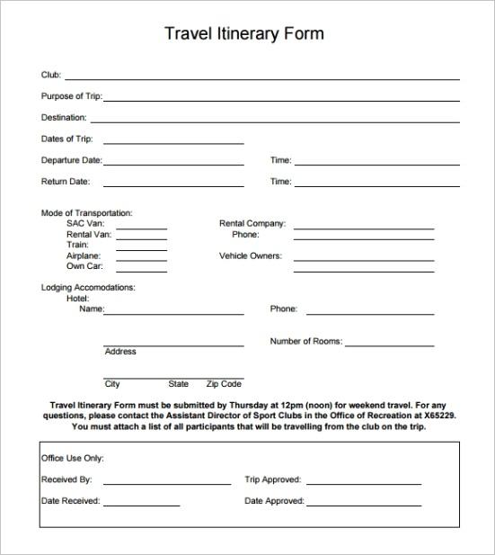 holiday itinerary templateml