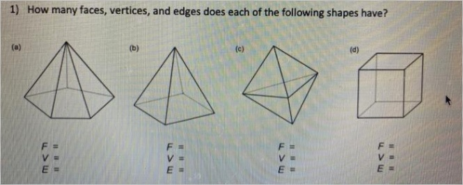 1 many faces vertices edges following shapes c m v e iee q