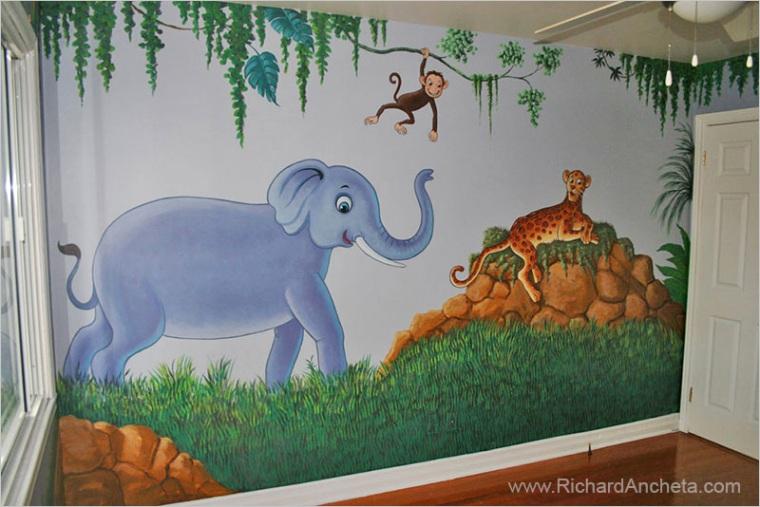 kids jungle animals nursery murals