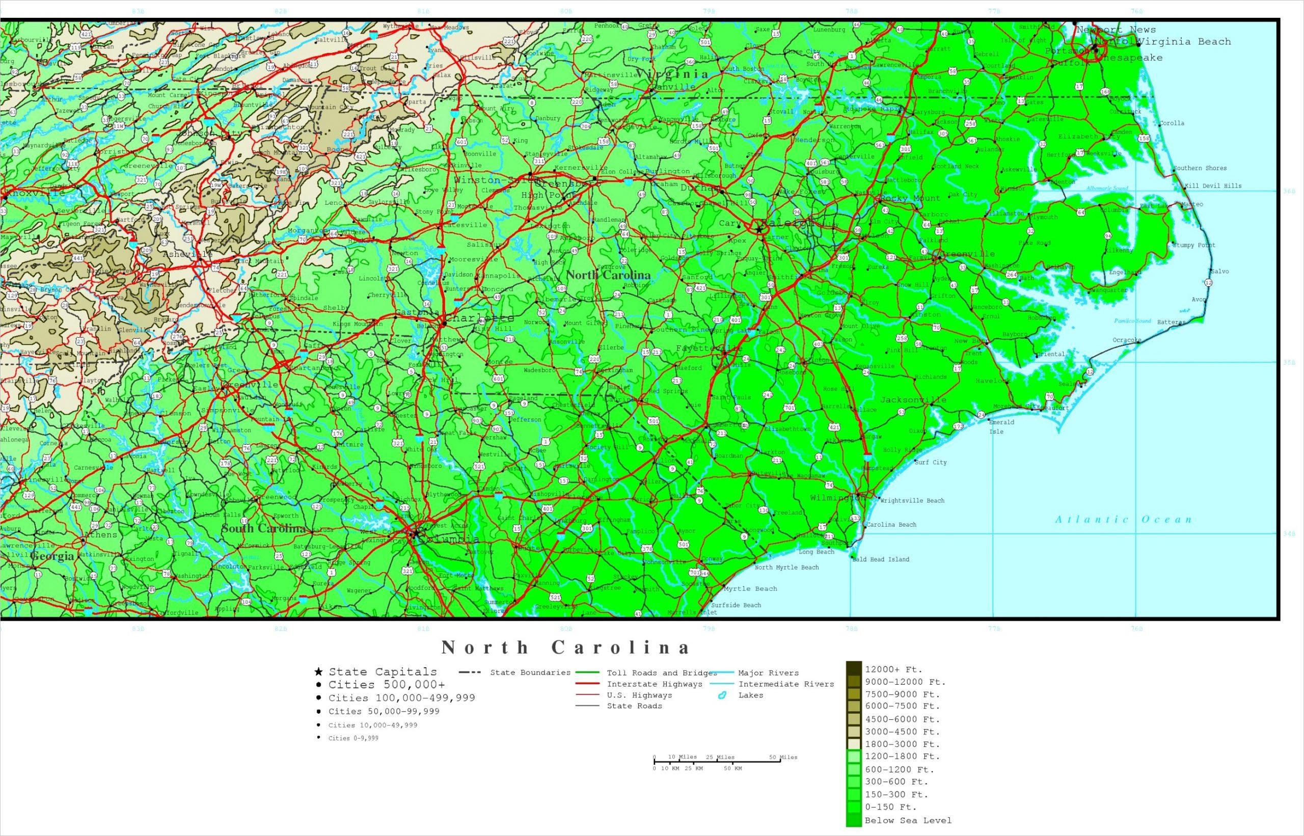 north carolina elevation map 302m