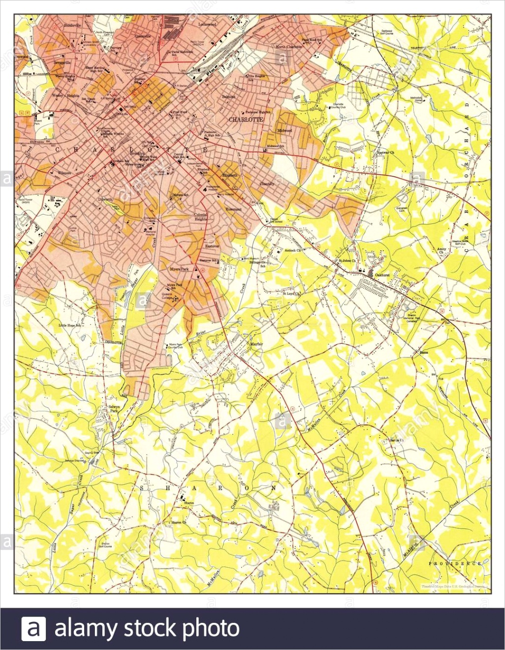 charlotte east north carolina map 1949 united states of america by timeless maps data us geological survey image