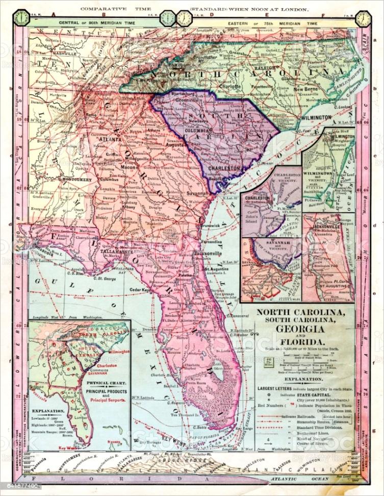 north carolina georgia florida map 1886 gm