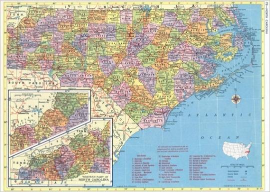 north carolina map instant 1958