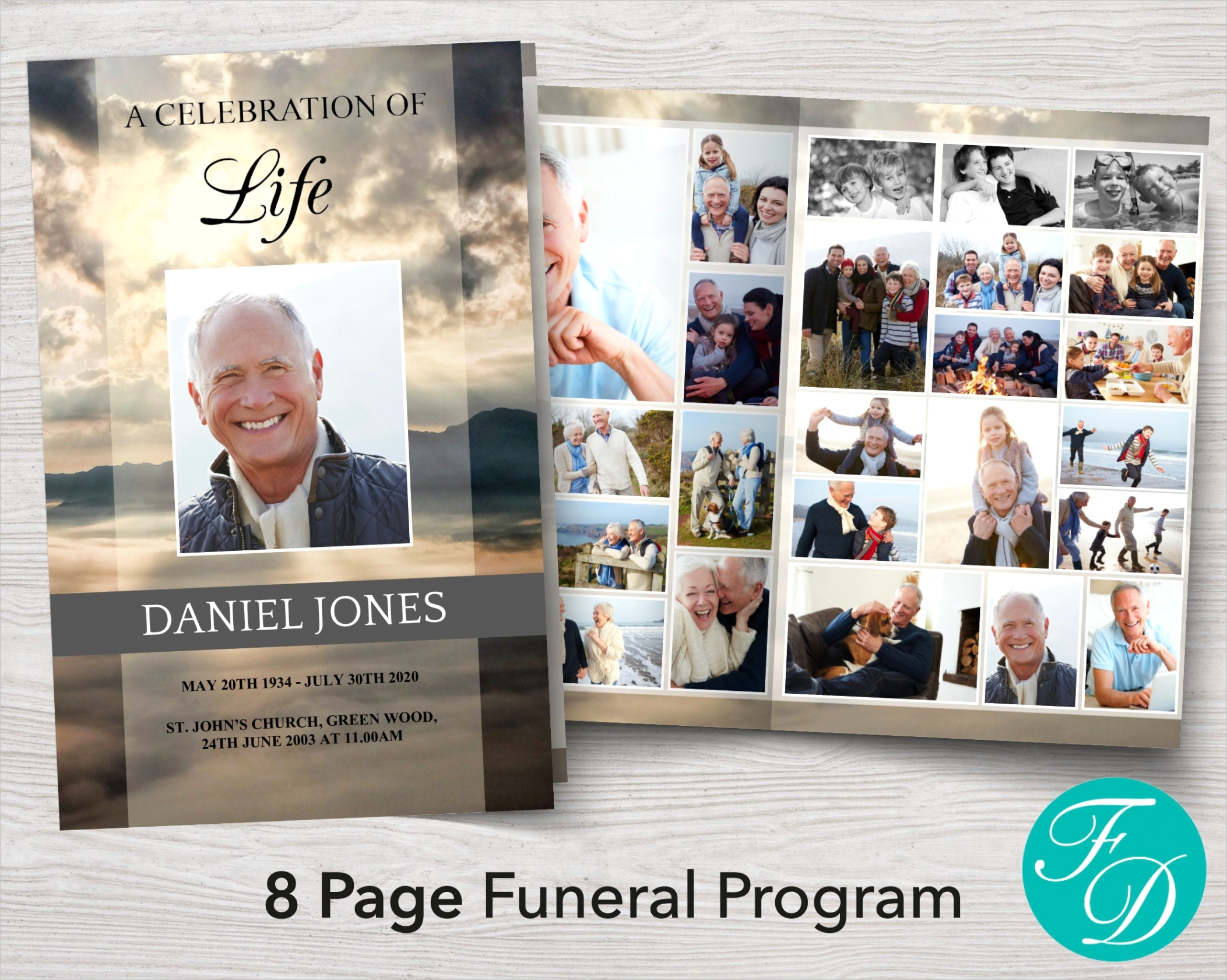 funeral program template 8 page 8 page