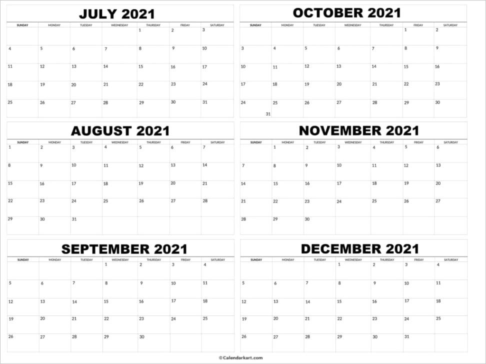 july to december calendar