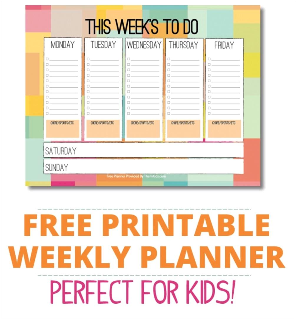 free kids weekly planner pdf