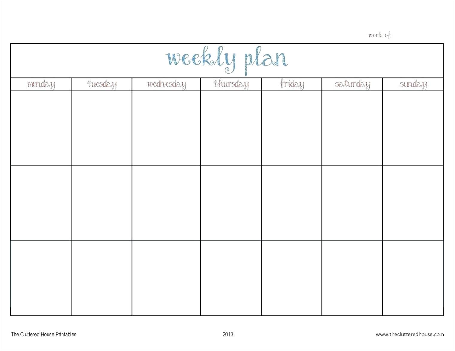 monday to sunday calendar printable