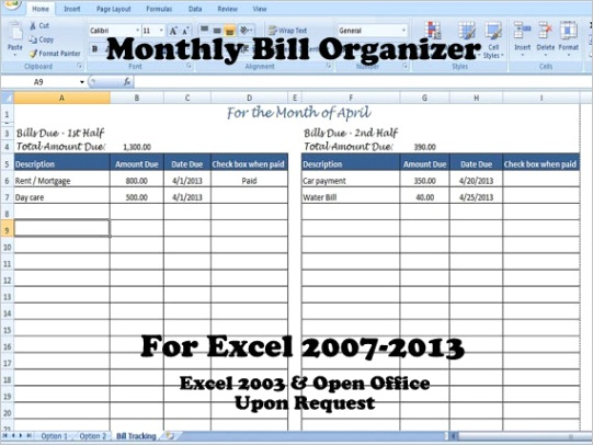 monthly bill organizer bill tracker calculates total due for 1st 2nd half of the month