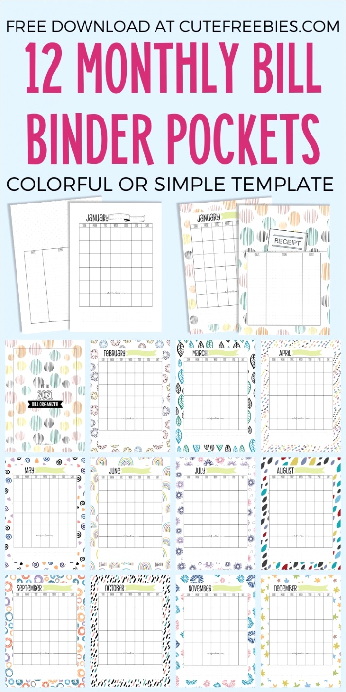 monthly bill organizer free printable template
