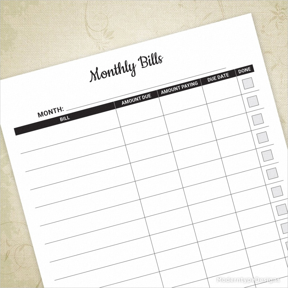 monthly bill tracker printable mbt001