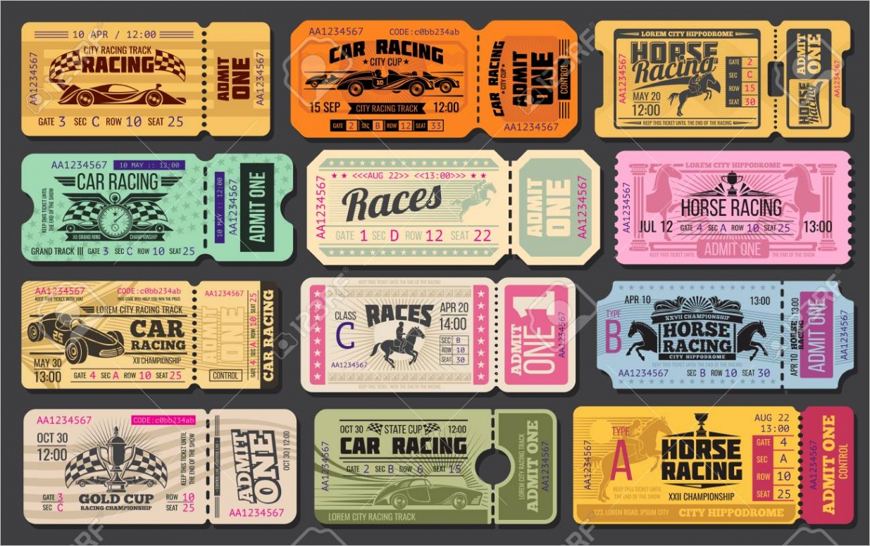 photo auto and horse racing sport event tickets template admit one cards with vintage racing car racehorse