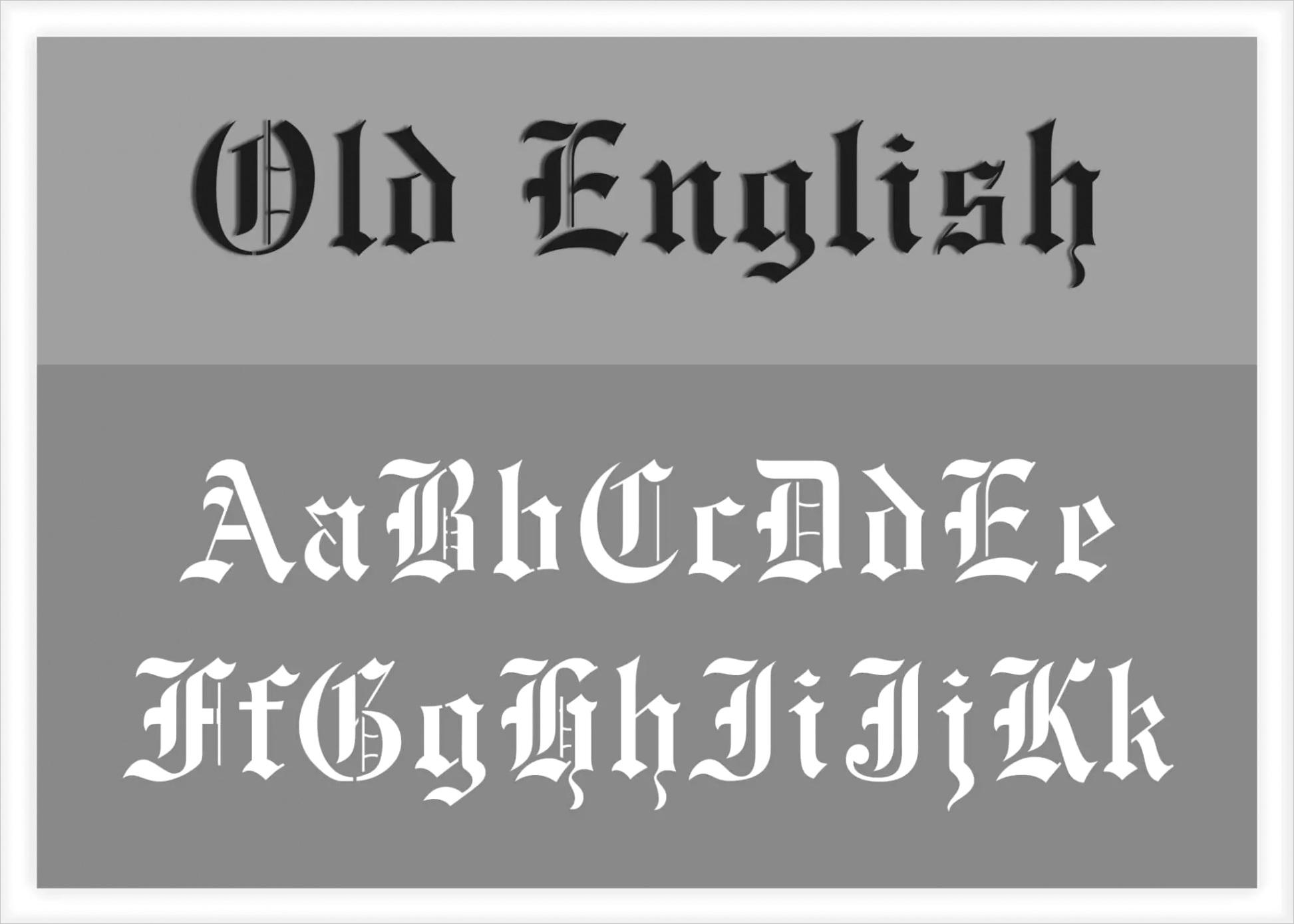 old english font alphabet stencil