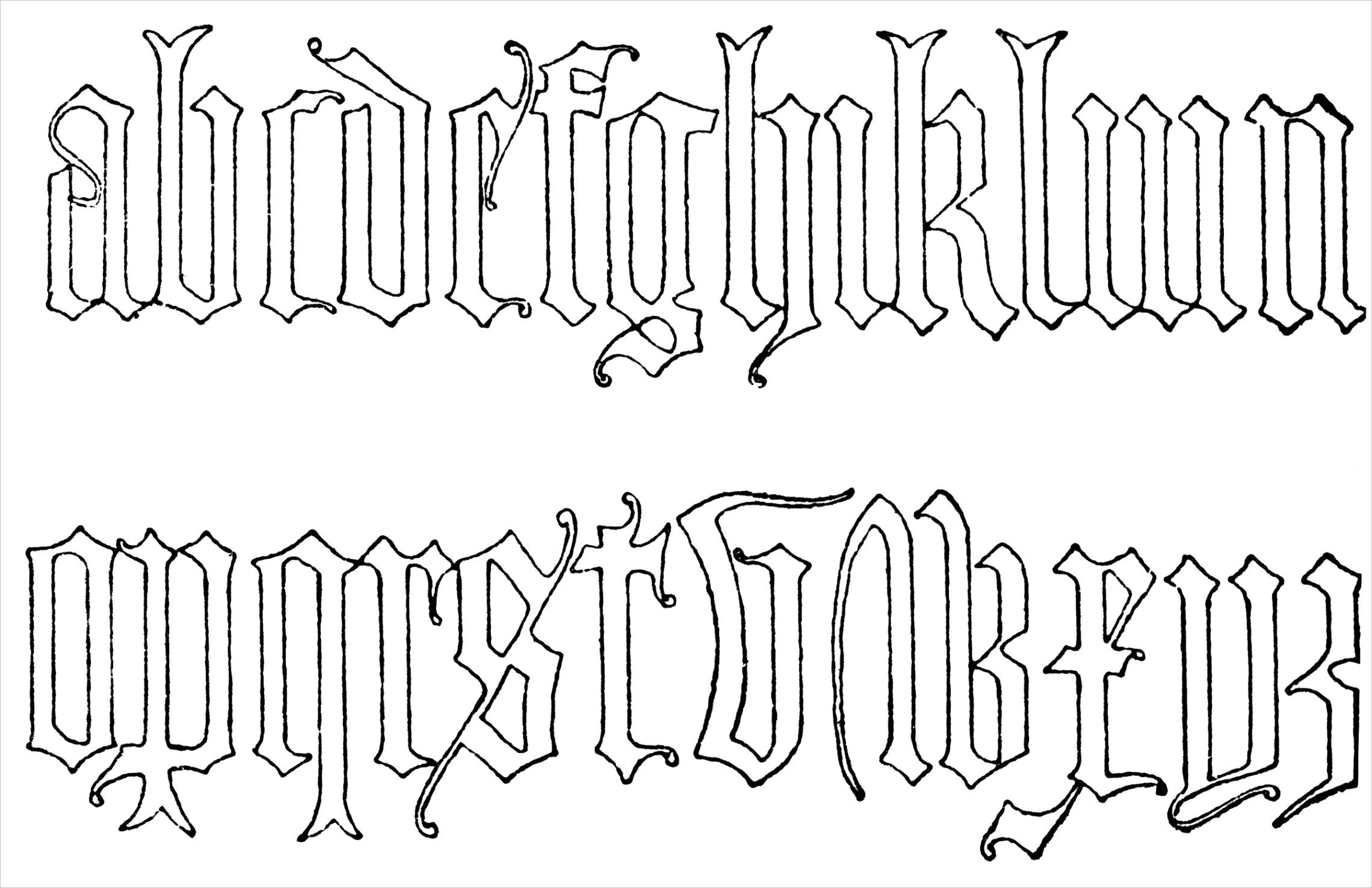 post old english font alphabet