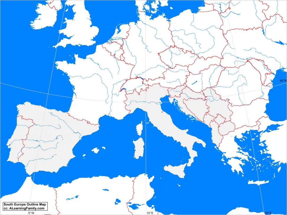 south europe outline map