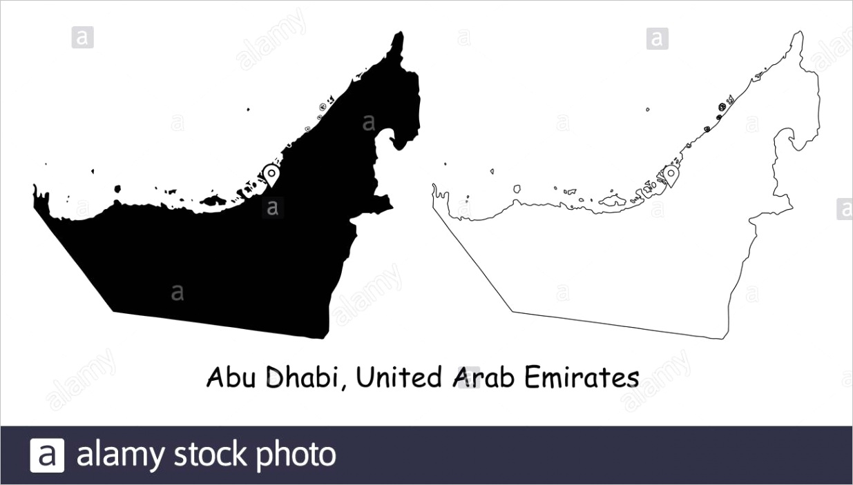 abu dhabi united arab emirates detailed country map with location pin on capital city black silhouette and outline maps isolated on white backgroun image ml