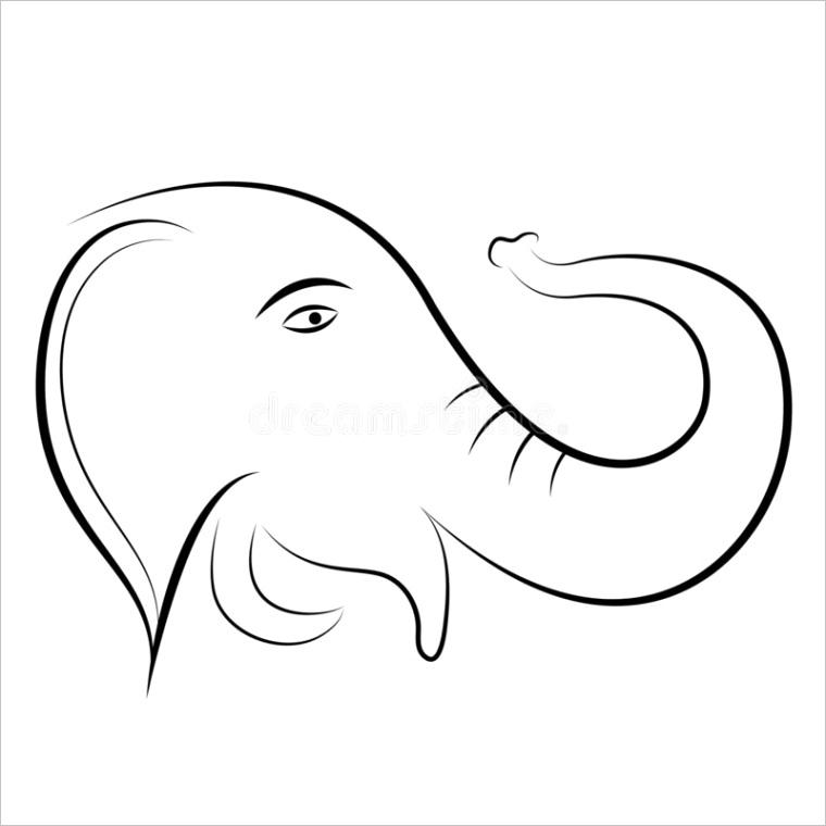 elephant shape outline image