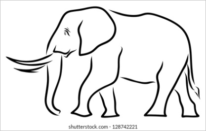 outline drawing elephant