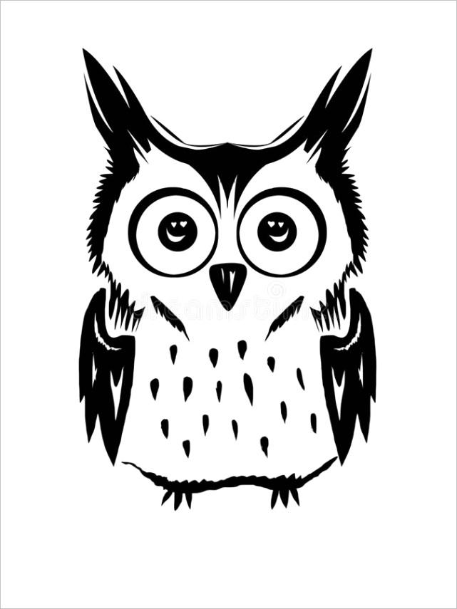 owl vector cliart black white cute owl vector black white image