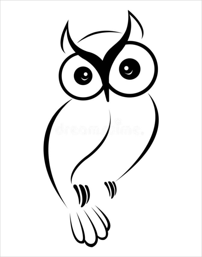 owl vector clipart black white cute owl eps image