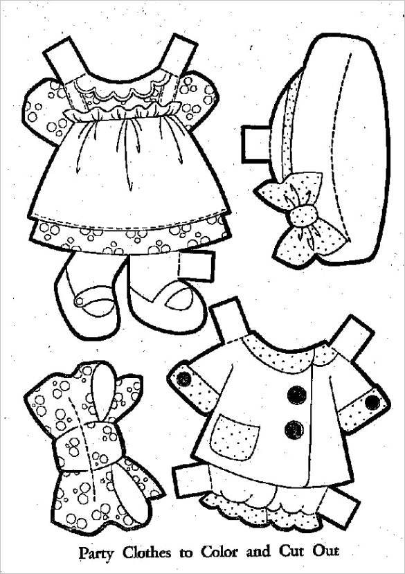 paper doll clothes coloring pages