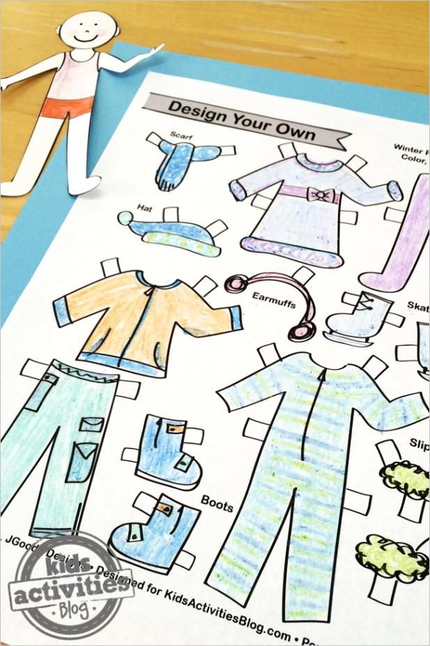 design winter paper doll set kids printable