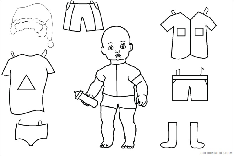 paper dolls coloring pages for girls baby paper doll template printable 2021 0948 coloring4free