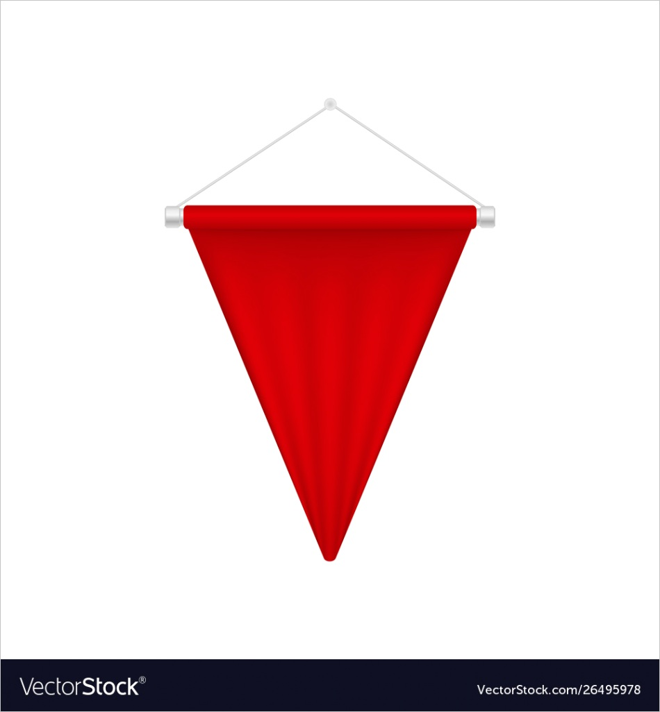 realistic red pennant template triangle blank vector