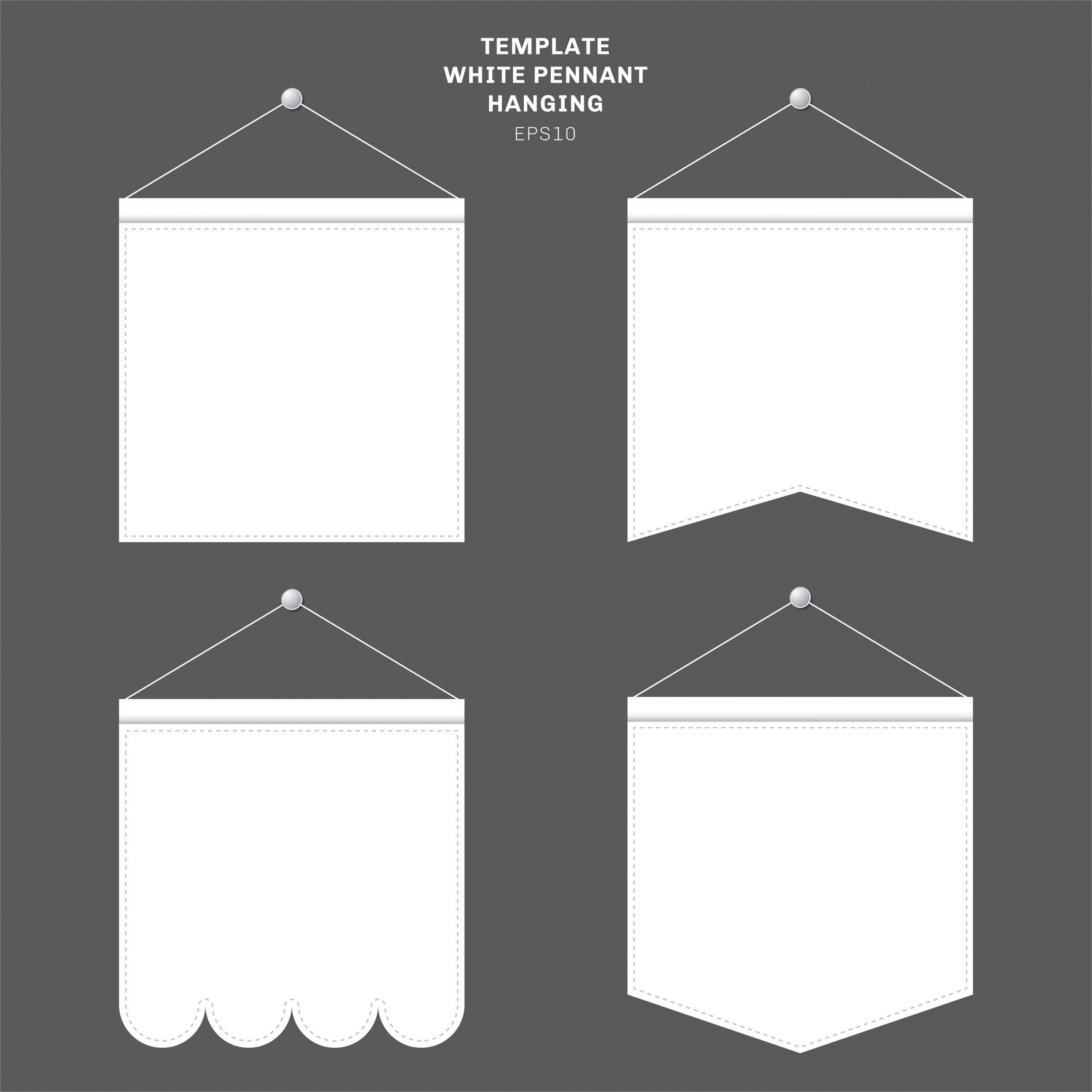 set of template white pennant hanging on a wall advertising canvas outdoor banners mock up