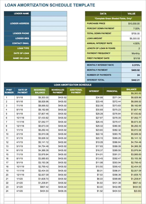 free amortization schedule templates variety loan types