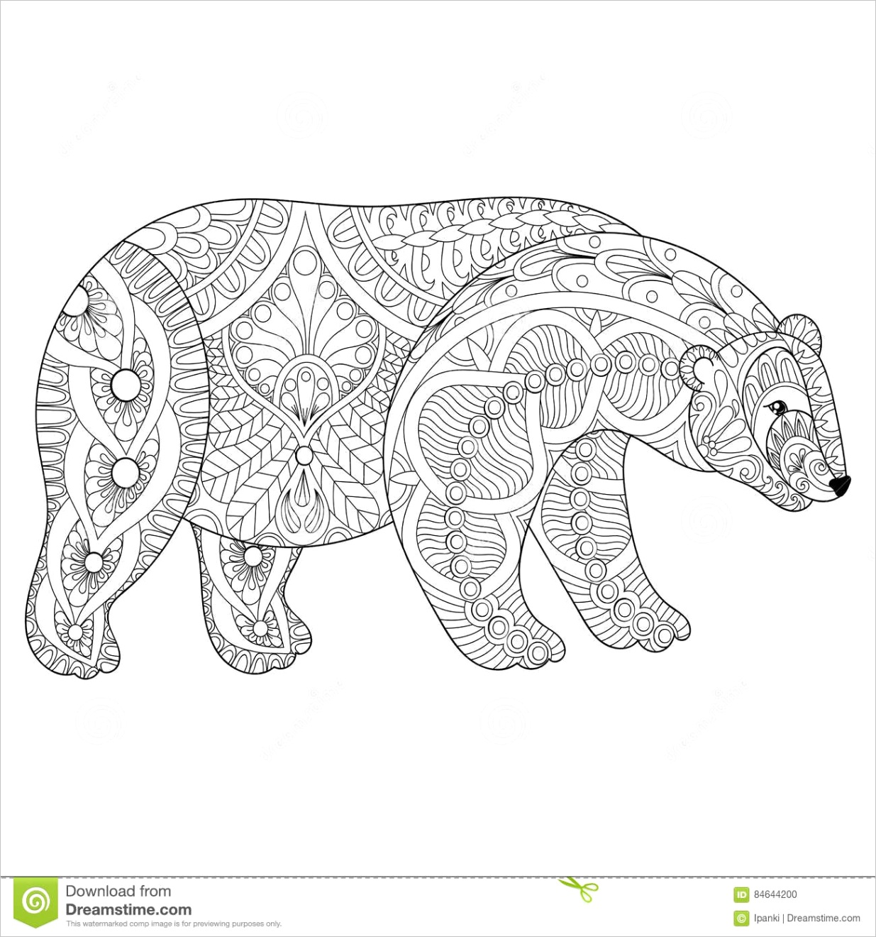 stock illustration vector zentangle polar bear head adult anti stress coloring pages book white art therapy mascot tribal tattoo art image