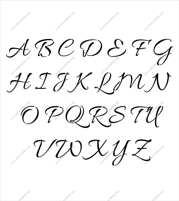 connected cursive uppercase lowercase stencilsml