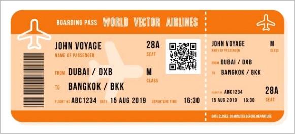 fake plane ticket template