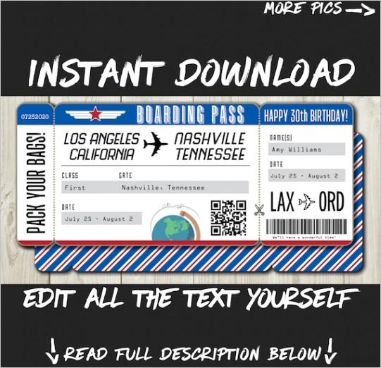 diy printable editable boarding pass