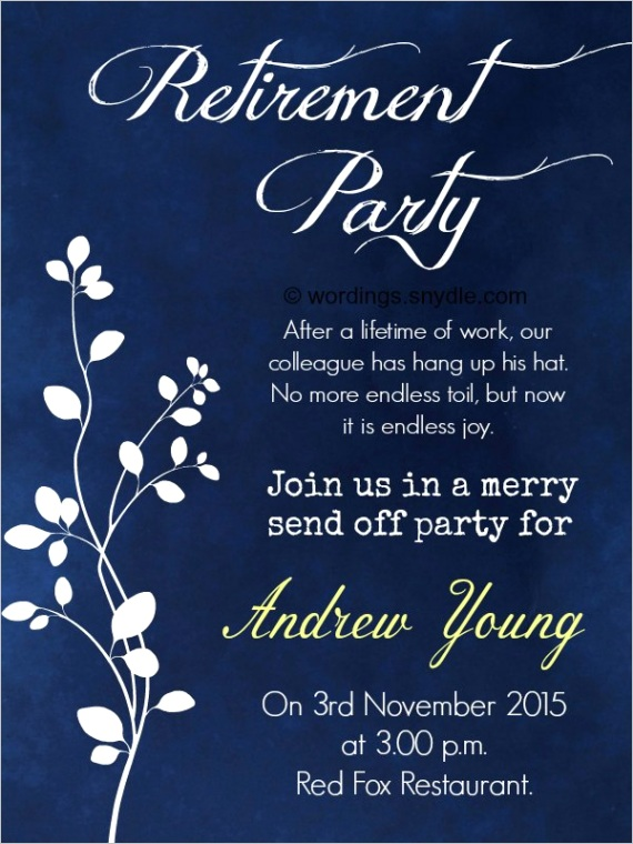 retirement party invitation wordingml