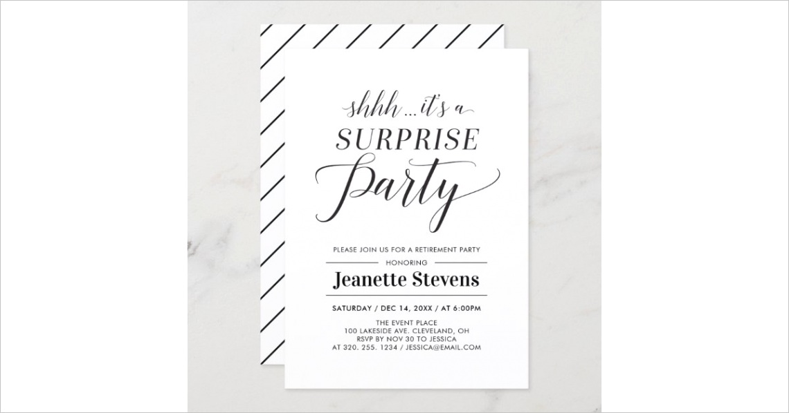 minimalist black white surprise retirement party invitation