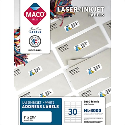 MACO White LaserInk Jet Address Labels